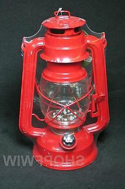 Gerson 9.5-Inch Red Metal 15 LED Hurricane Lantern with Dimm
