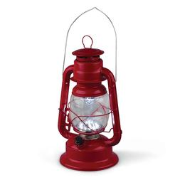 Gerson Red Metal LED Hurricane Lantern With Bright White Lig