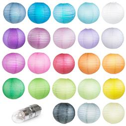 WYZworks Round Paper Lanterns Cool White LED bulbs 10 Pack 8