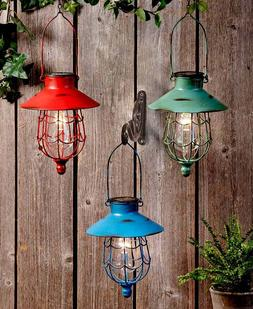 RUSTIC DISTRESSED FINISH HANGING SOLAR LED LIGHTED CAGED LAN
