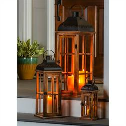 Wood and Metal Lantern Set of 3 Nested Lanterns