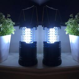 Silver 10 In. Lantern 30 LED Lights Battery Operated Camping