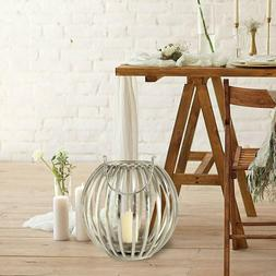 Whw Whole House Worlds Silver Pumpkin Ribbed Candle Lantern,