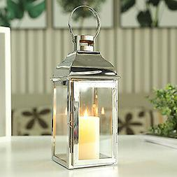 Silver Stainless Steel Candle Lanterns Vintage Decorative Me