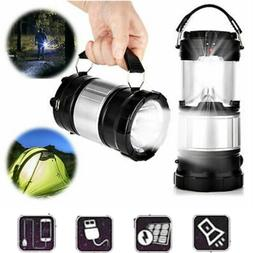 Solar Power USB Rechargeable LED Flashlight Camping Tent Lig