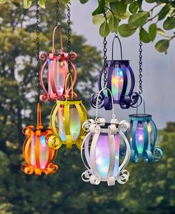Solar Scroll Lantern Colorful Multicolored Lights Hanging or