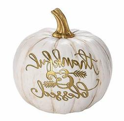 Transpac Imports, Inc. Thankful Blessed Pumpkin Gold Tone On
