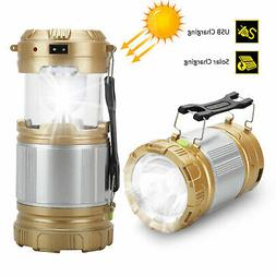USB Solar 6 LED Portable Light Rechargeable Lantern Outdoor
