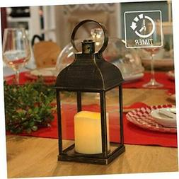 """Vintage Decorative Lanterns with Timer - 10"""" Outdoor Candle"""