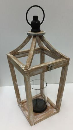 "Whitewashed / Distressed Wood Lantern Candle Holder 18"" Ta"