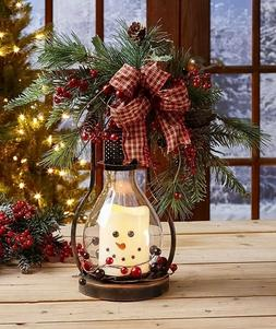Winter Seasonal Themed LED Snowman Candle Lantern Country Ho