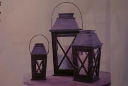 Pottery Barn X Lanterns set of 2 Black Wood/Metal Carriage S